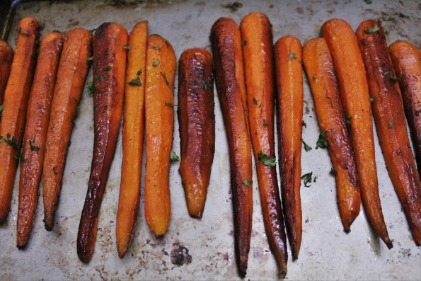 Sweet Balsamic Roasted Carrots - a sweet and savory paleo side-dish