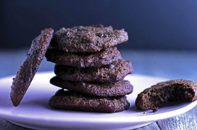 Paleo Chewy Double Chocolate Cookies - soft and chewy gluten-free cookies that only take 10 minutes to bake!
