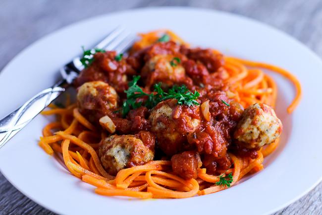 "Sweet Potato ""Spaghetti"" with Chicken Meatballs"