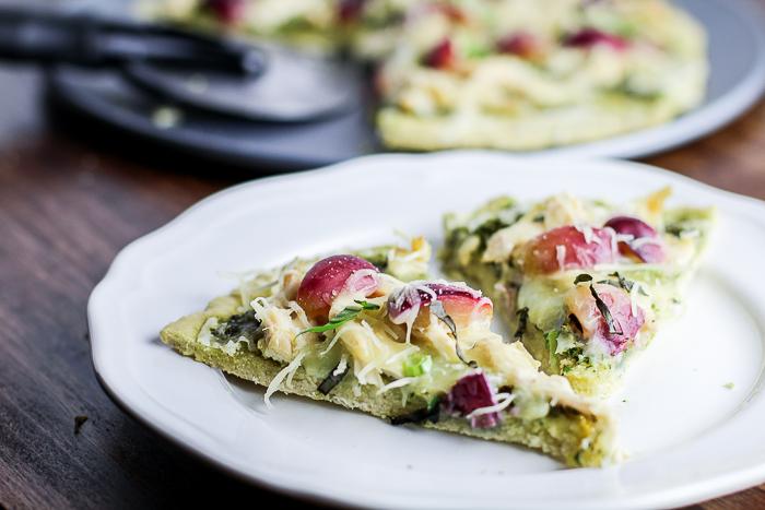 Gluten-free Chicken Pesto Pizza with Red Grapes