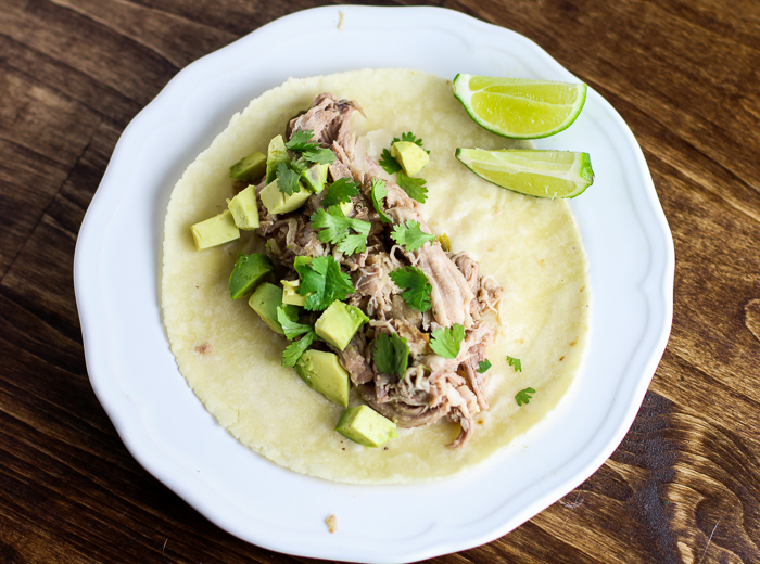 Slow Cooker Green Chile Pork Carnitas on Siete Foods almond flour Tortilla