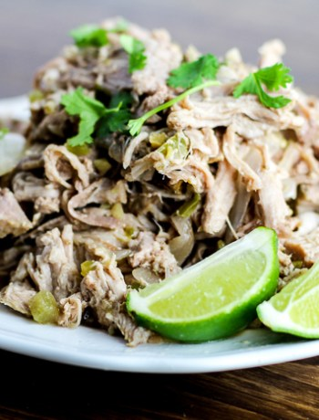 Slow Cooker Green Chile Pork Carnitas - a little bit of a kick and a lot of flavor!
