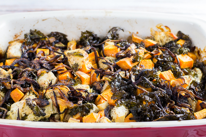 Bacon Chicken Kale Sweet Potato Bake