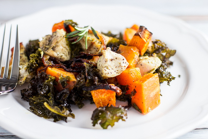 Chicken Kale Sweet Potato Bake with Bacon and Caramelized Onions
