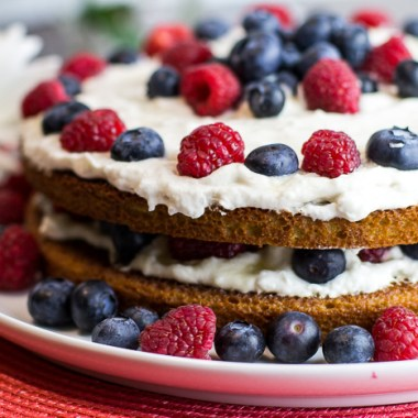 Paleo Lemon Raspberry Blueberry Cake