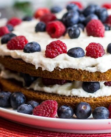 Paleo Lemon Raspberry Blueberry Cake
