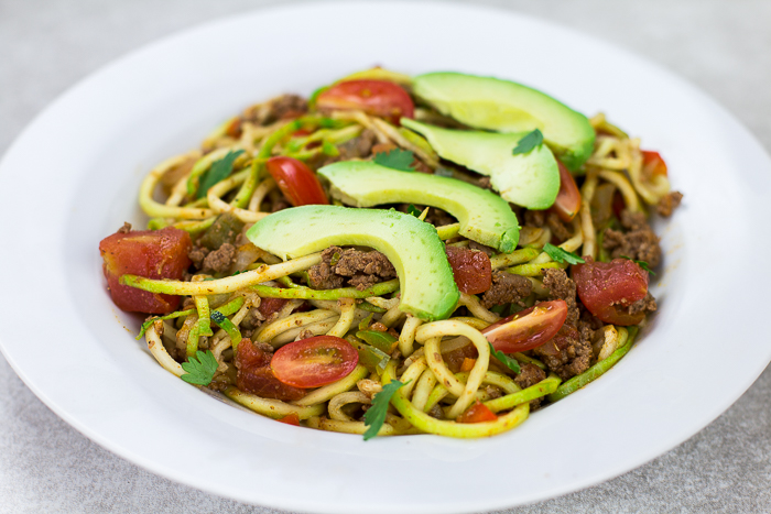 Taco Spaghetti with Zoodles - a light and healthy Whole 30 meal