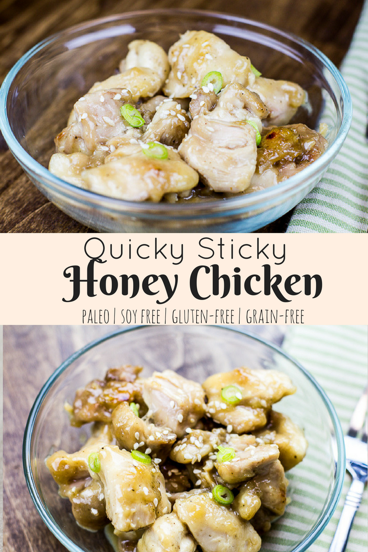 This Paleo Sticky Honey Chicken is a perfect, quick meal for busy weeknights. It takes little time to make, and is a delicious soy-free, gluten-free meal!