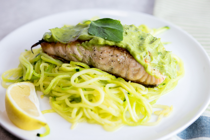Lemon Basil Avocado Salmon over Zoodles