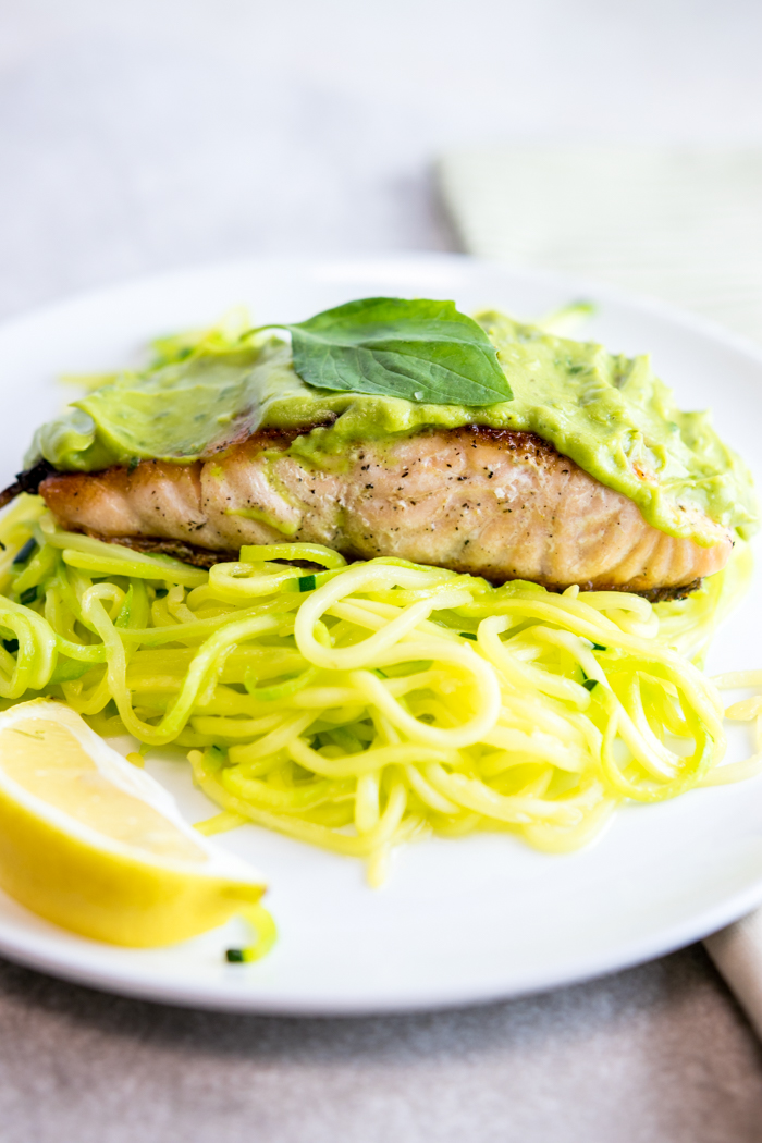 Lemon Basil Avocado Salmon with Zucchini Noodles