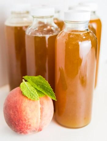 Homemade Peach Mint Kombucha