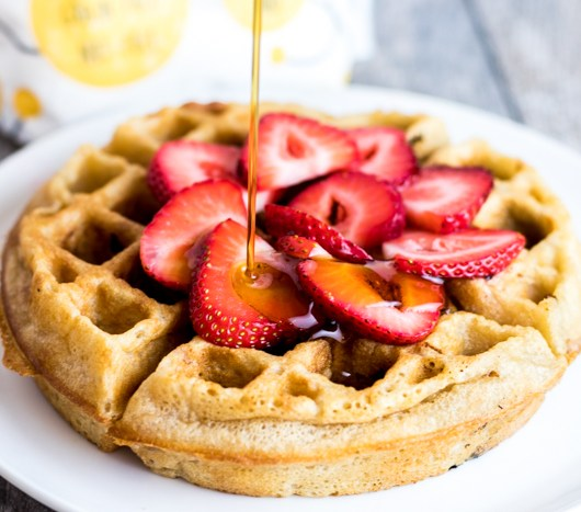 Strawberry Cassava Flour Waffles with maple syrup