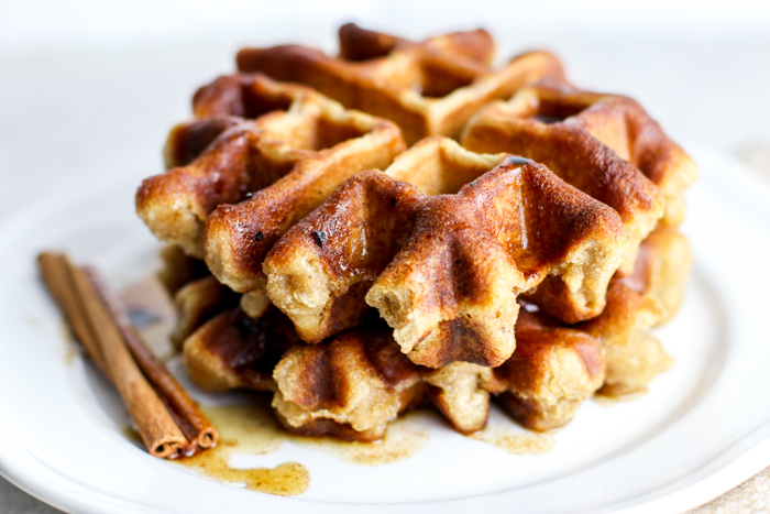 Gluten Free Banana Bread Waffles with Maple Cinnamon Butter