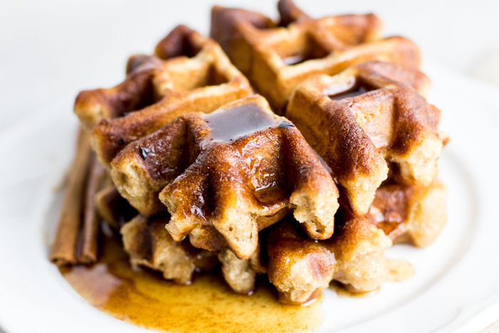 Paleo Banana Bread Waffles made with Cassava Flour and topped with a Maple Cinnamon Butter drizzle