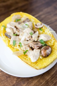 Chicken Stuffed Spaghetti Squash with Mushrooms