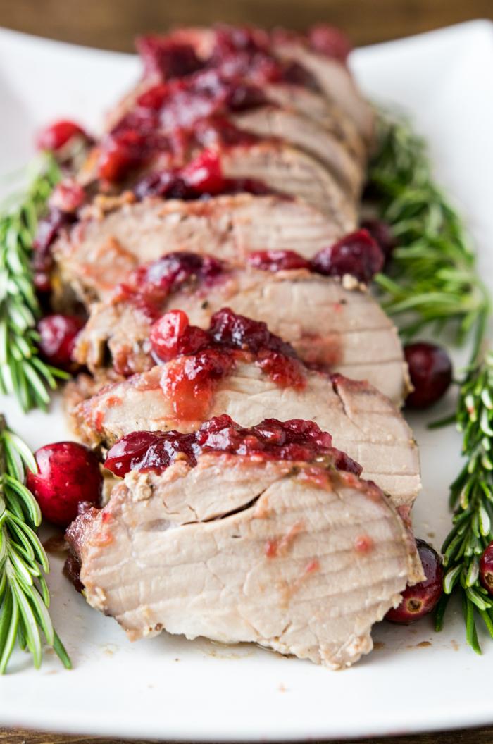 cranberry rosemary pork tenderloin sliced