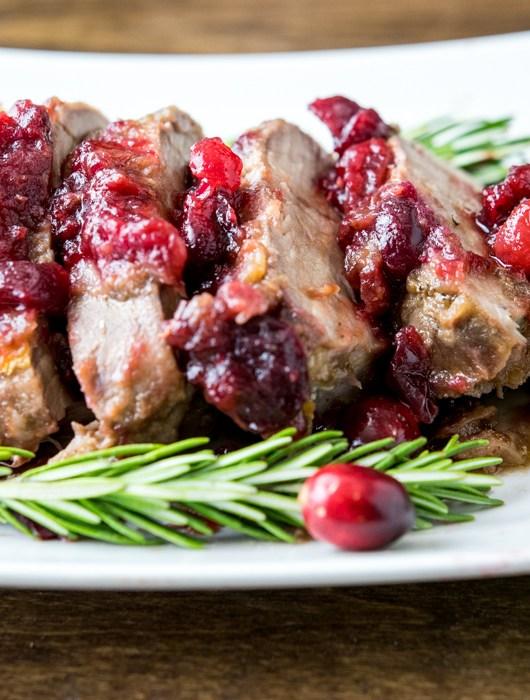 balsamic cranberry rosemary pork tenderloin sliced