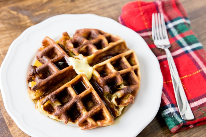 Paleo Gingerbread Waffle with syrup on plate