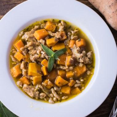Sweet Potato Sausage and Sage Soup