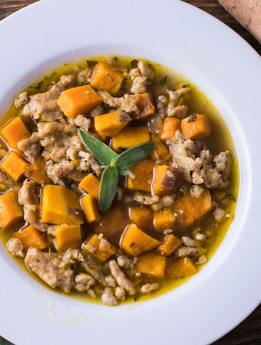 Sweet Potato Sausage and Sage Soup