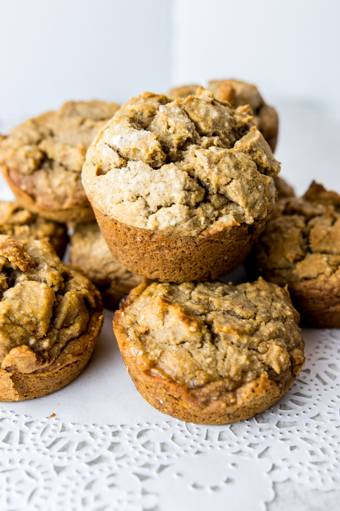 stack of paleo banana chia muffins