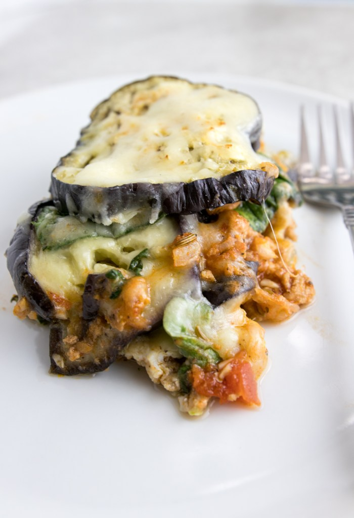 paleo eggplant spinach meat casserole on a plate