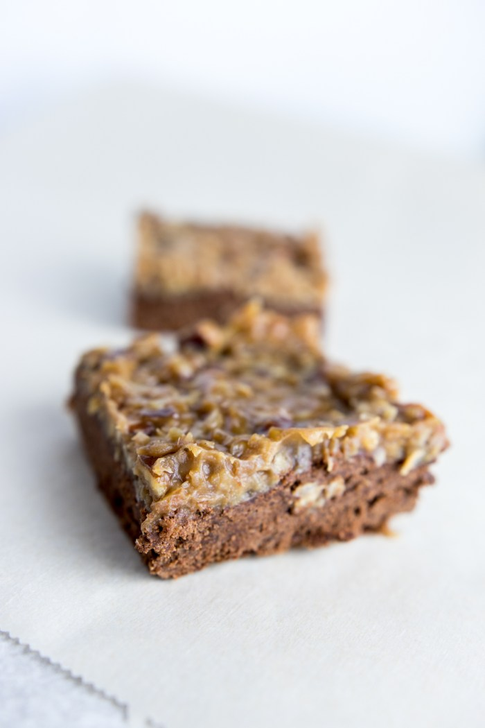 Paleo German Chocolate Brownies sliced