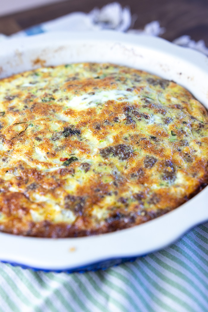 Zucchini Basil Crustless Quiche in pie dish