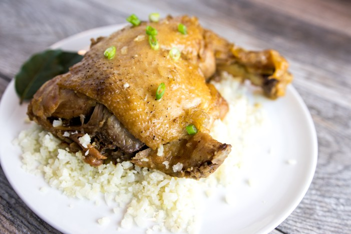 paleo instant pot adobo chicken on plate