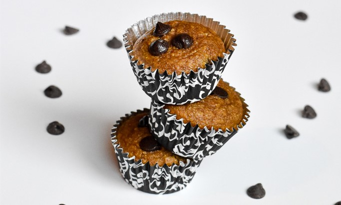 Chocolate chip pumpkin muffins (gluten-free + processed sugar-free)