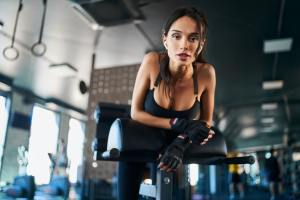 Woman posing on in gym