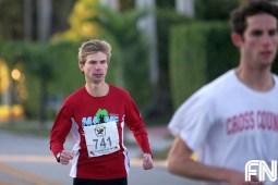 man red shirt running