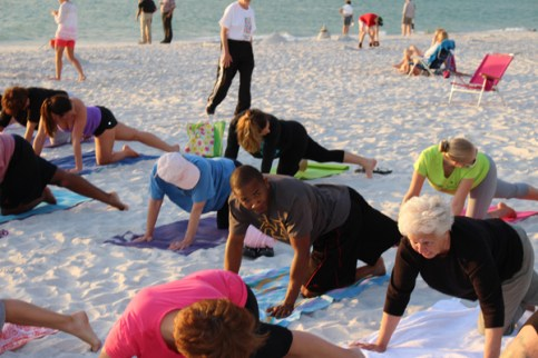 sunset yoga on the beach