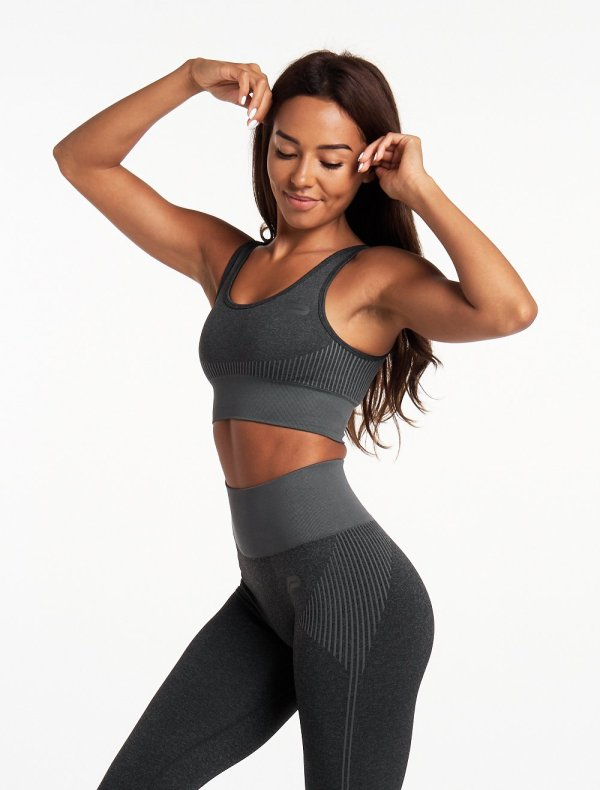Sporttop Dames Donkergrijs Seamless - Pursue Fitness Adapt