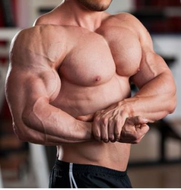 Man showing chest muscles