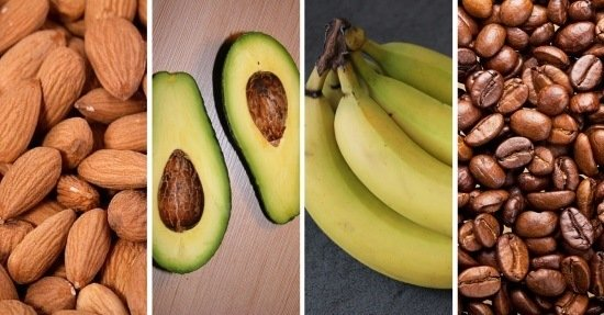 almonds - avocados, bananas - coffee do they help or not?