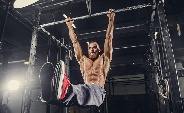 Man Working Out Using Pull Up Bars