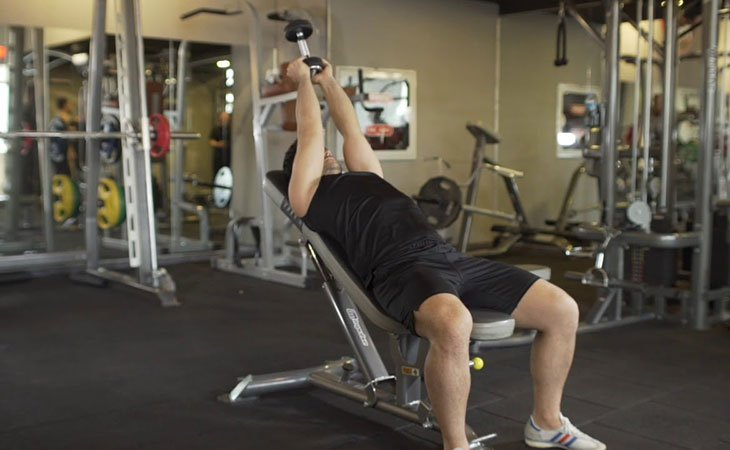 Man Incline Dumbbell Pullover Workout