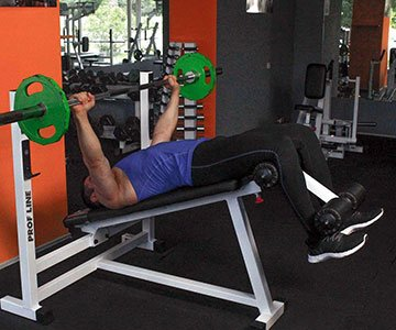 Man Using A Decline Bench Press Machine For Chest