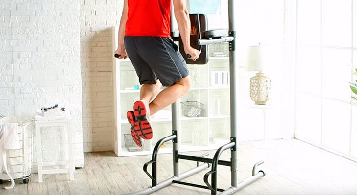 Man Working Out Using A Power Tower