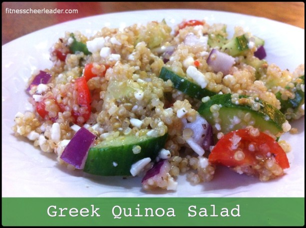 High in protein, this simple quinoa salad has all of your favorite Greek flavors.
