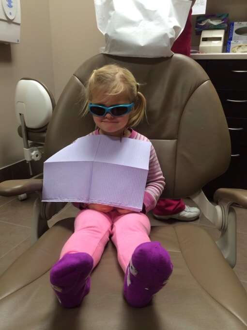 Amber - rocking her first dentist appointment
