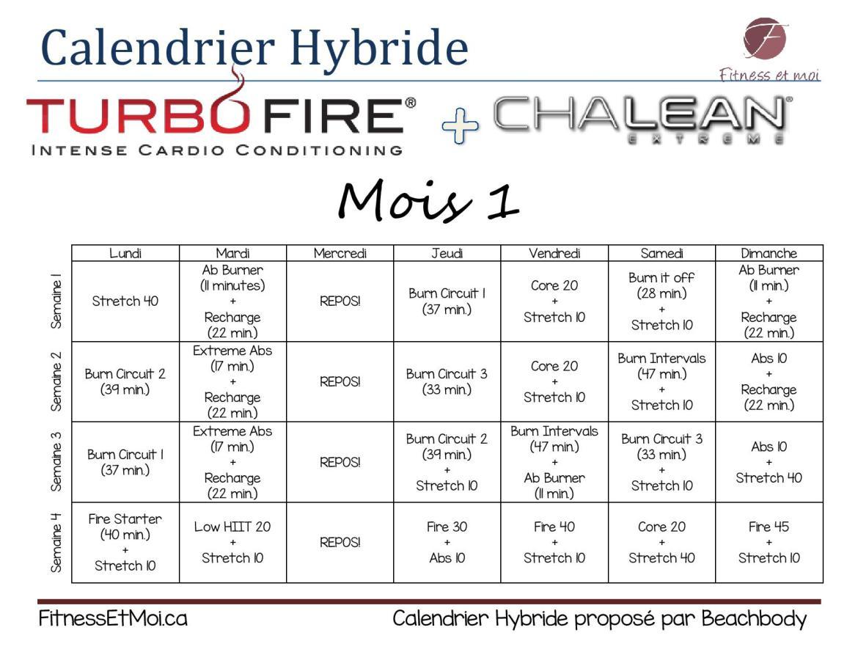 Calendrier hybride Turbofire et Chalean Extreme