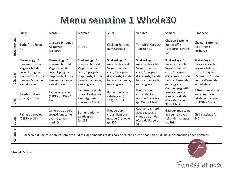 menu semaine 1 whole30