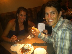 Enjoying Our Favorite Dessert - Bread Pudding on the Night of our Engagement