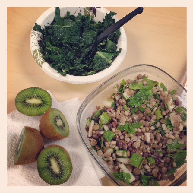 One of my lunches this week - Lentil and Sprouted Bean Salad, Steamed Kale w/ Lemon and Kiwis!