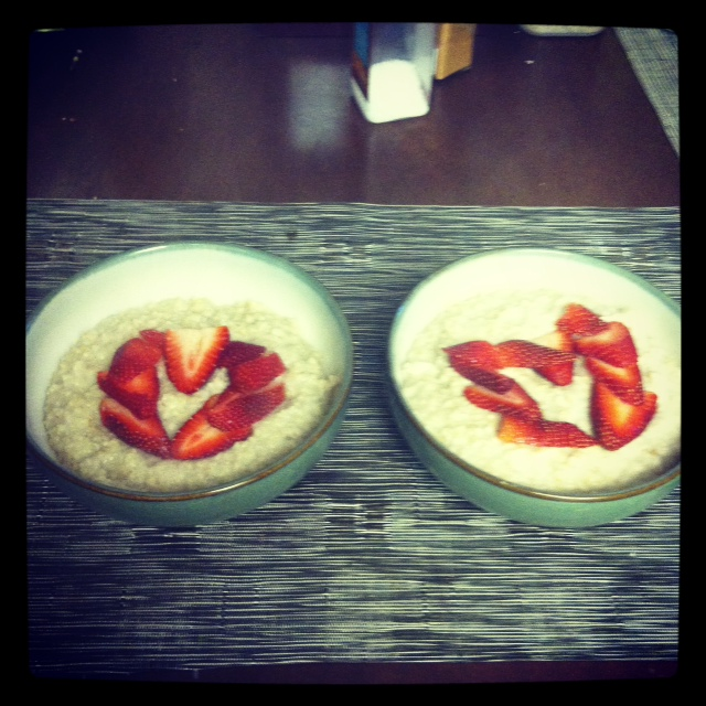 Our Morning Oatmeal (no, there aren't hearts every day...just Valentine's Day)