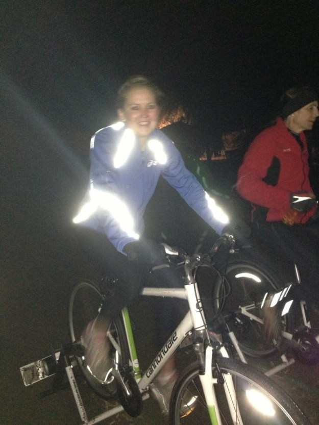 My team member Brooke biking to keep warm and generate electricity!