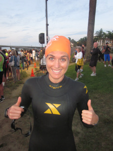 Wetsuits and swim caps are cool!