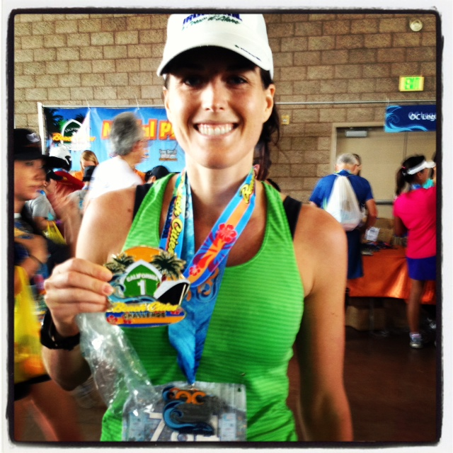 With My Massive Beach Cities Challenge Medal after Running the OC Marathon in 2012